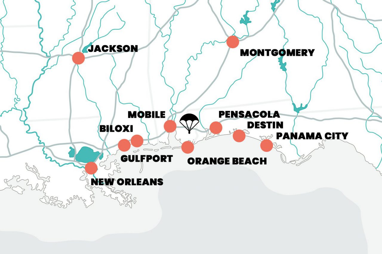 Skydive the Gulf map graphic