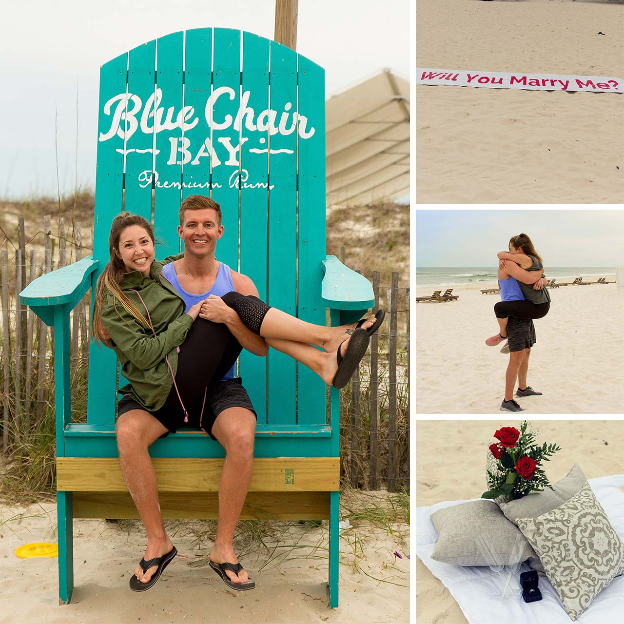 Couple sits in the blue chair bay together after getting engaged at the beach
